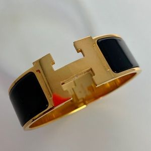 Hermes Black & Gold Wide Bracelet